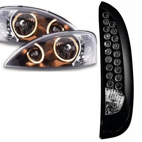 opel corsa c tuning kit led r ckleuchten schwarz angel eyes scheinwerfer schwarz ebay. Black Bedroom Furniture Sets. Home Design Ideas