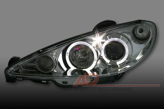 scheinwerfer angel eyes peugeot 206 chrom neu sonar | ebay